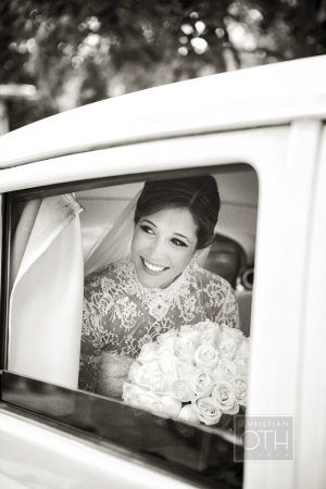 Bride in Vintage Limo