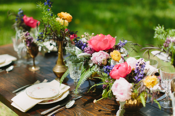 Bright Flowers in Gold Vases Reception Decor Ideas