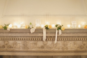Candles and Yellow Roses on Mantel