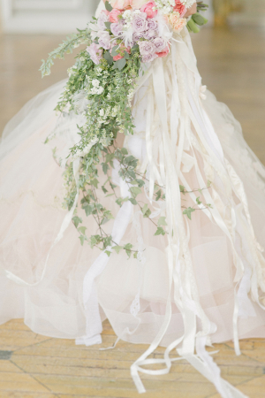 Cascading Bouquet With Lace and Ribbon Streamers