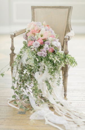 Cascading Bouquet in Vintage Chair