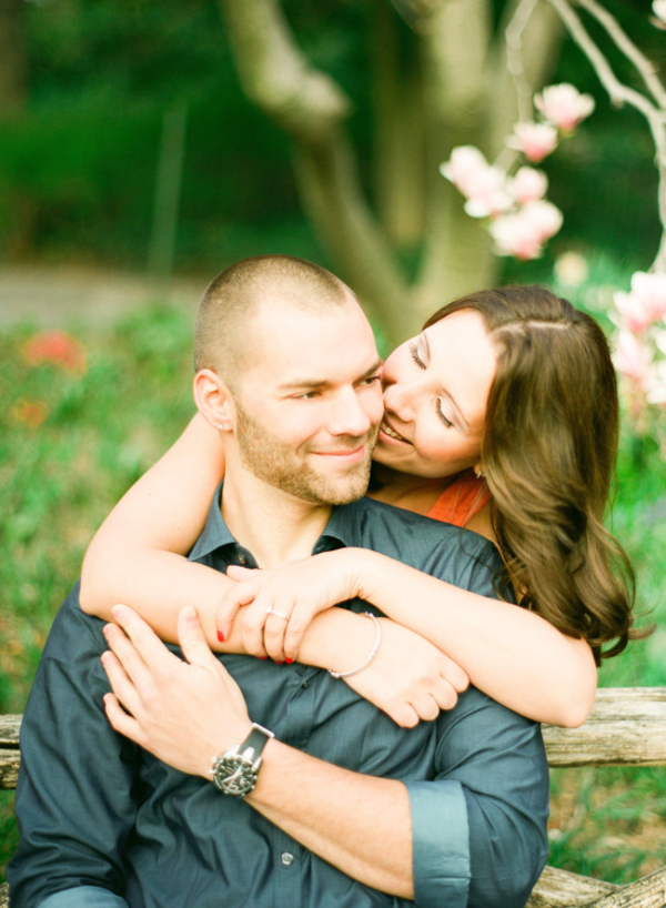 Casual Park Engagement Portrait From Lindsay Madden