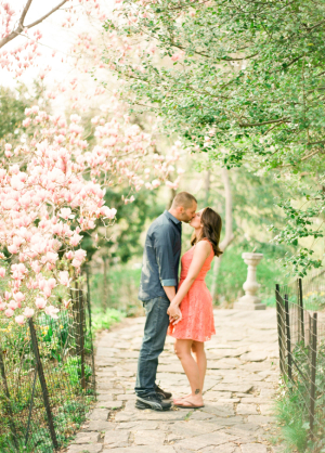 Couple Kissing Beneath Cherry Blossoms