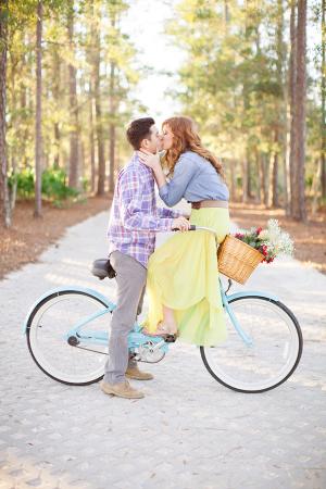 Couple Kissing on Bike