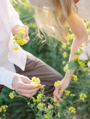 Couple Picking Yellow Flowers