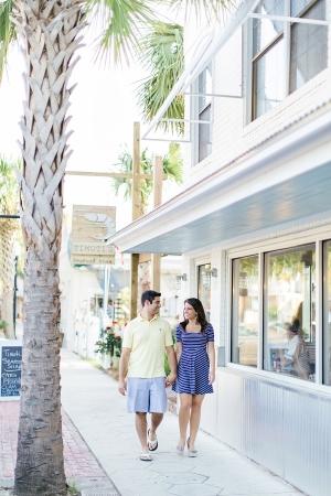 Couple Walking in Downtown Amelia Island