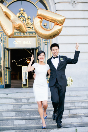 Couple With Gold Monogram Balloons