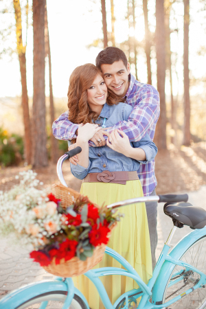 Couple With Vintage Blue Bike