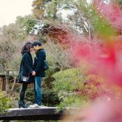 Couple on Bridge in Japan