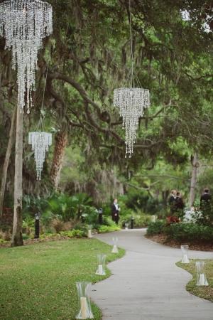 Crystal Chandeliers in Trees