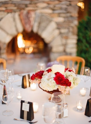 Elegant Red and White Centerpieces
