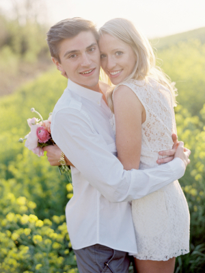 Engagement Portrait in Wildflower Field