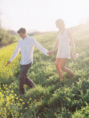 Engagement Portrait in Wildflower Field From Clary Photo