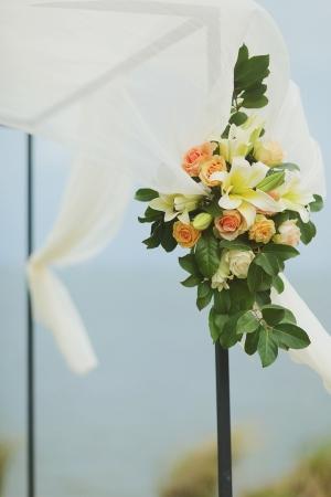 Flower Garland on Outdoor Wedding Arch