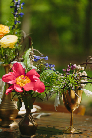 Flowers in Gold Vases