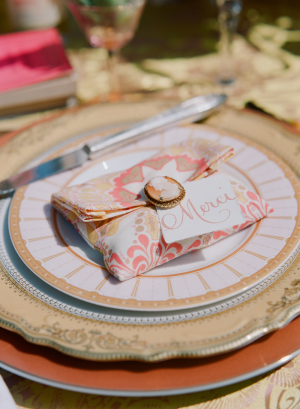 French Place Card With Cameo Pin