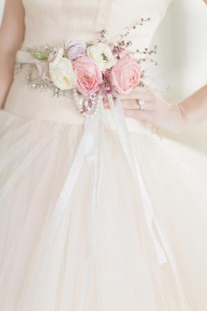 Fresh Flower Belt on Bridal Gown