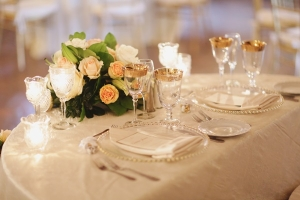 Glass and Gold Reception Place Settings