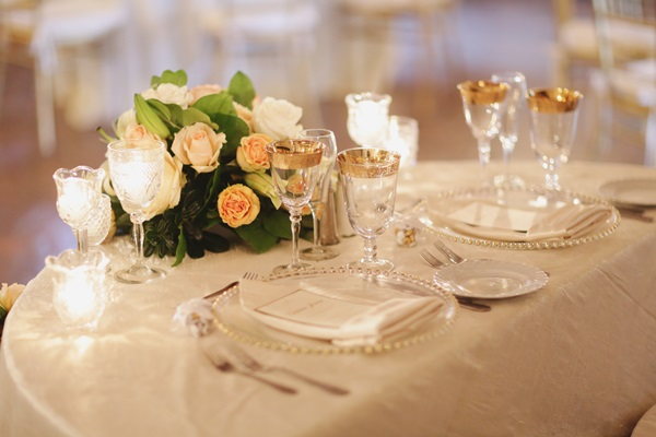 Glass and Gold Reception Place Settings - Elizabeth Anne Designs ...