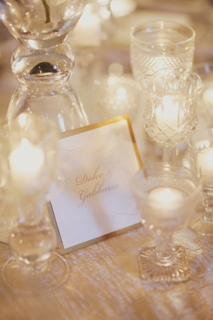 Gold Trimmed Reception Table Cards
