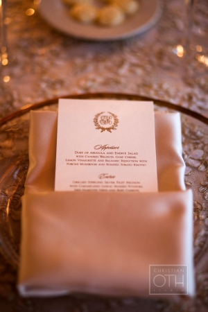Gold and Cream Reception Menu Card