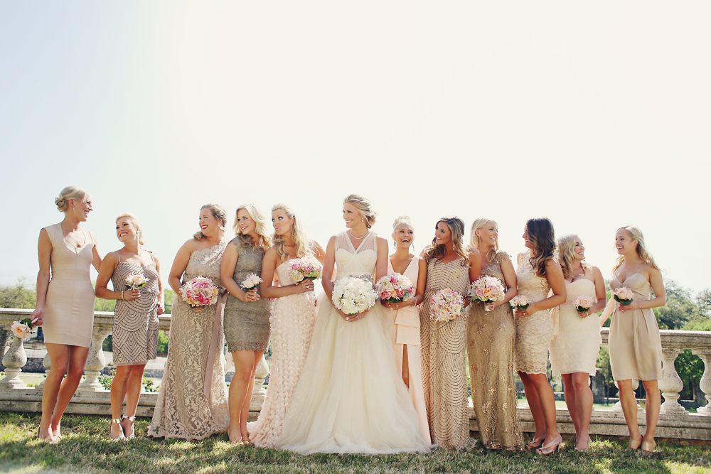 Gold and Taupe Bridesmaids Dresses
