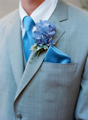 Gray Suit With Blue Silk Tie