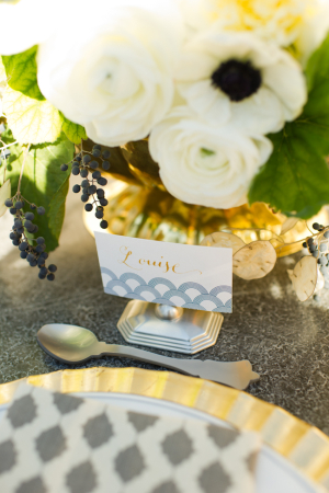 Gray and Gold Wedding Centerpiece