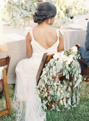 Greenery and Rose Garland on Brides Chair