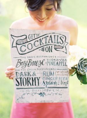 Hand Written Wedding Cocktail Menu