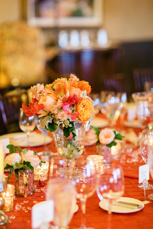 Hot Pink Yellow and Orange Reception Arrangement