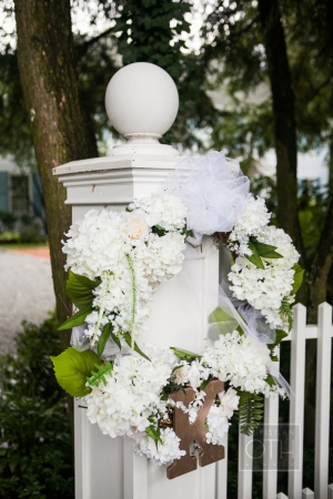 Hydrangea Wreath on Post