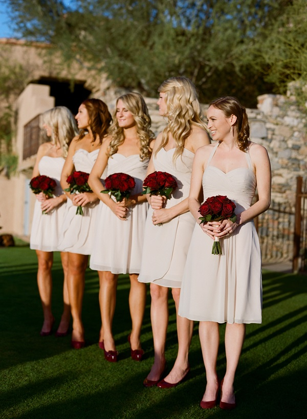 Ivory Bridesmaids Red Bouquets