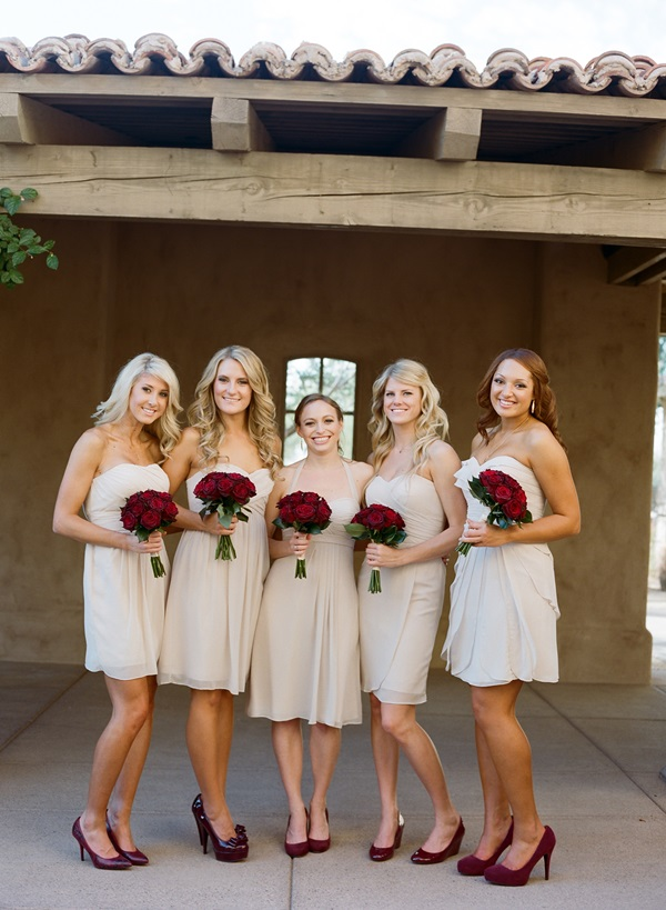 Ivory Bridesmaids Red Shoes