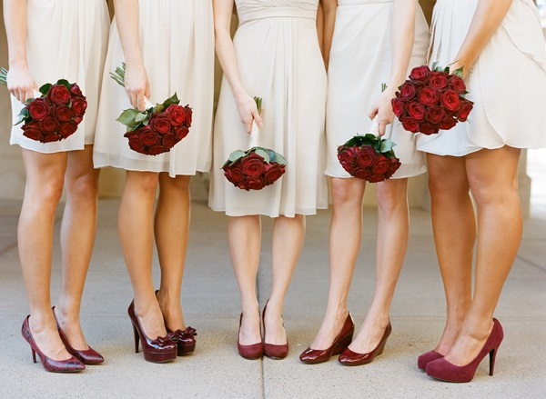 Ivory and Red Bridesmaids