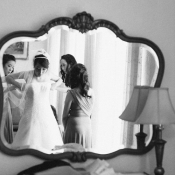LA Bride Putting on Vera Wang Gown