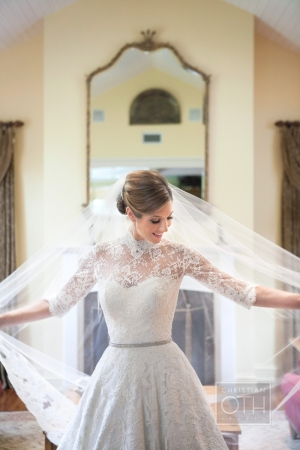 Lace Top Over Strapless Wedding Gown