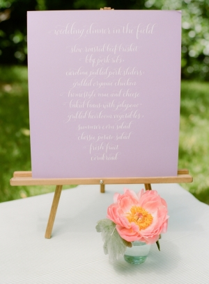 Lavender And White Menu Sign On Easel