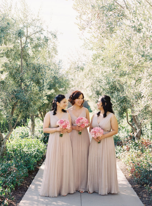 Long Light Taupe Bridesmaids Dresses