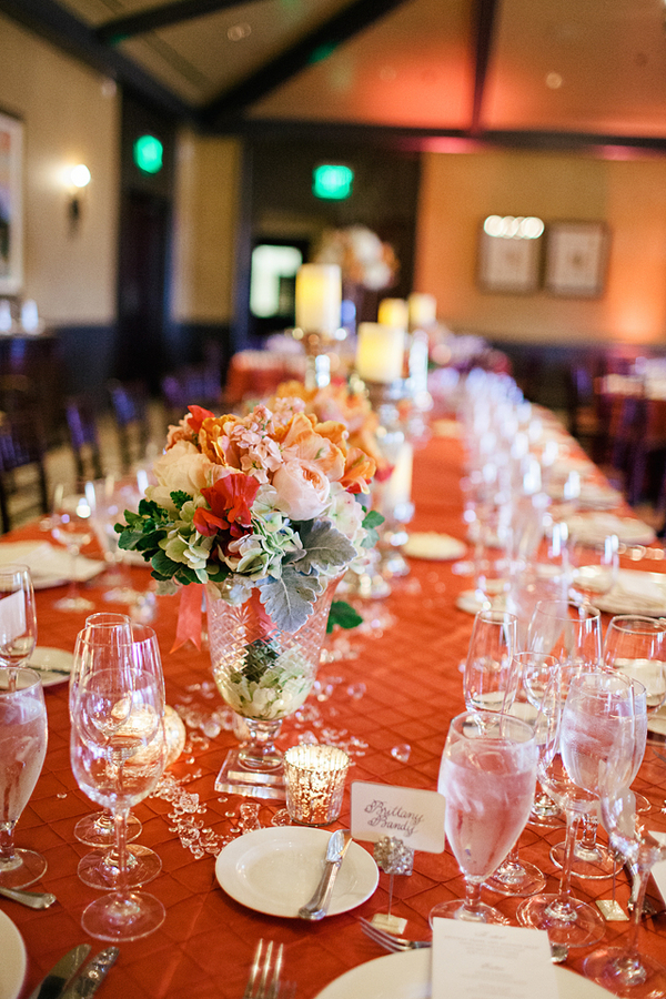 Long Reception Table With Pink Linens