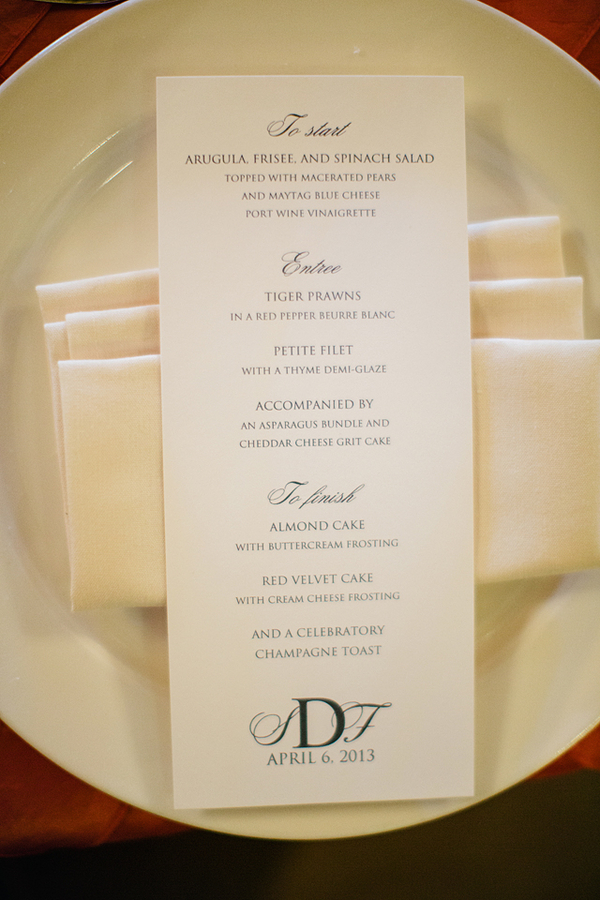 Monogrammed Reception Menu Card Elizabeth Anne Designs The