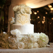 Monogrammed Wedding Cake With Hydrangeas and Roses