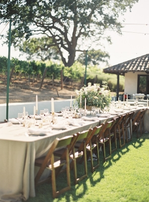 Neutral Outdoor Winery Reception Decor