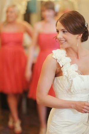 One Shoulder Column Style Wedding Gown