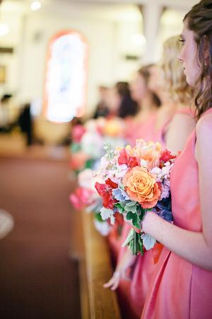 Orange Pink and Purple Bridesmaids Bouquet