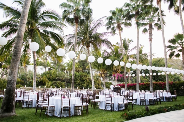 Outdoor Beach Reception With Paper Lanterns