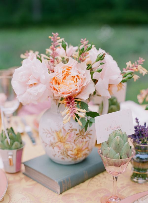 Peach and Pink Flowers in Vintage Vase