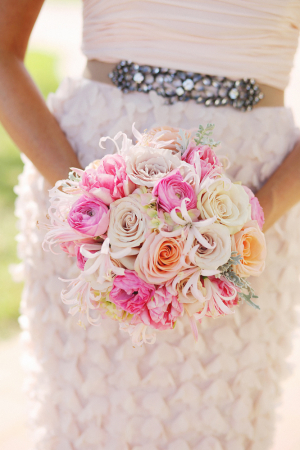 Pink Peach and Cream Rose Bouquet