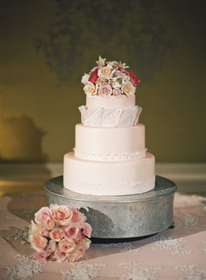 Pink Wedding Cake on Silver Stand