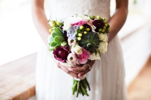 Pink and Cream Bouquet With Succulents